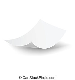 Blank paper sheet falling down. Illustration on white background.