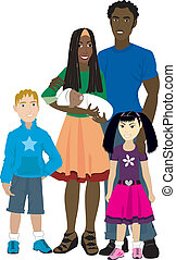 Vector illustration of Family number 6 Isolated. Foster care or Adoption.
