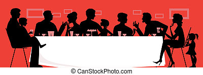 Silhouettes of a dinning family