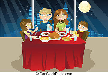 A vector illustration of a family eating dinner together