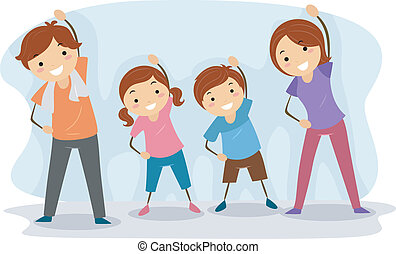 Illustration of a Family Exercising Together