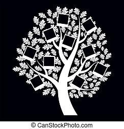 Family genealogical tree on black background, vector illustration