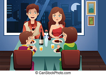 A vector illustration of family having dinner in a modern house with city lights in the background