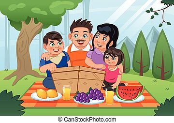 Family Having Picnic Together