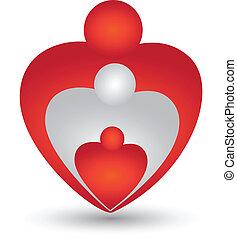 Family in a heart shape logo vector