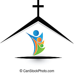 Family in church icon vector