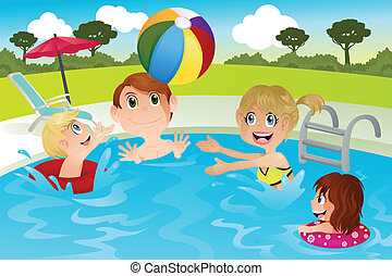 A vector illustration of a happy family playing in swimming pool