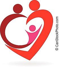 Family love heart logo