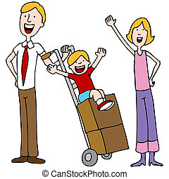 An image of a family getting ready to move.