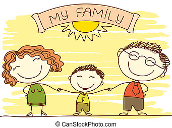 Family on white. Vector happy parents and text.