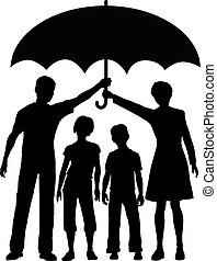 Family parents hold an insurance security risk umbrella to protect kids