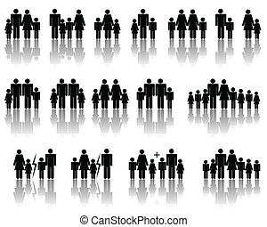 Abstract vector illustration of several simple family compositions