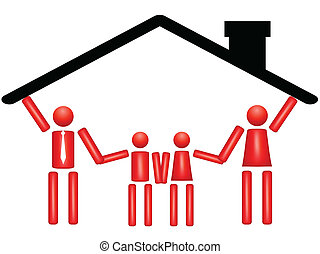 fector illustration of family togetherness in a harmonious home