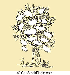 Family tree design with empty frame