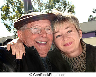 Young woman and her grandfather