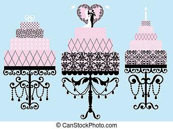 fancy cakes, vector set