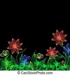 Bright blend flowers on black background