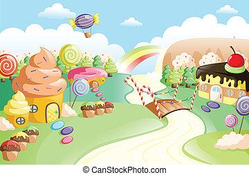 A vector illustration of fantasy sweet food land