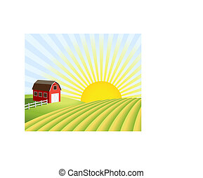Vector illustration of a farm and fields at sunrise. XL jpeg also available, see portfolio.