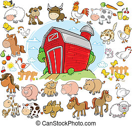 Farm Animals Design Elements Vector Set
