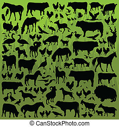 Farm animals detailed silhouettes illustration collection background vector