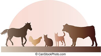 Farm animals including a horse, bull, chicken, dog and cat illustration