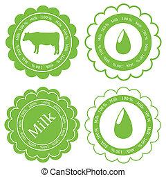 Farm animals market ecology organic milk label vector background concept