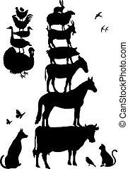 farm animals, vector set
