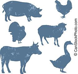 Farm animals, vector silhouettes