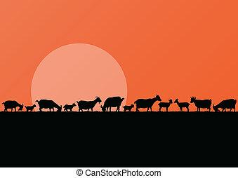 Farm dairy goats herd silhouettes landscape illustration background vector