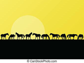 Farm horses silhouettes landscape illustration background