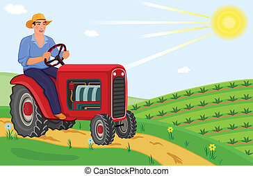Young farmer driving his tractor on the fields on a beautiful spring day. Vector file, saved as EPS AI8, all elements layered and grouped for easy editing.