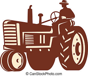 Illlustration of a farmer worker dirivng a vintage tractor on isolated background done in retro style.