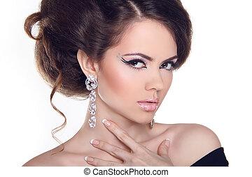 Fashion Art Portrait Of Beautiful Girl. Vogue Style Woman. Hairstyle.