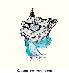 Fashion bulldog with glasses and scarf
