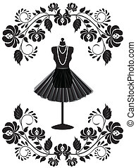 fashion card with mannequin with necklace and skirt in floral frame