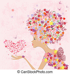 fashion flowers girl with a heart of butterflies