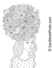 fashion girl with flowers in hair for your coloring page