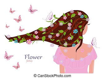 fashion girl with leaves and flowers in her hair for your design