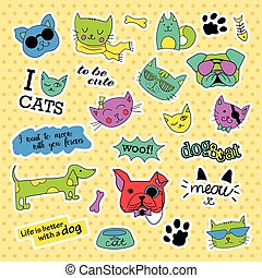 Fashion patch badges. Pop art Cat and dog set. Stickers, pins, patches handwritten notes collection in cartoon 80s-90s comic style. Trend. Vector illustration isolated.
