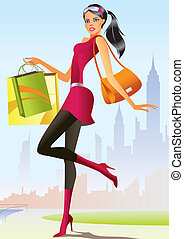 fashion shopping girl with shopping bag in New York- vector illustration