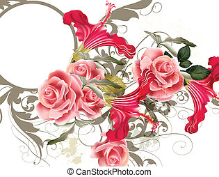 Vector cute pink roses in vintage style for design