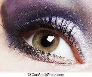 Fashion woman eye makeup.