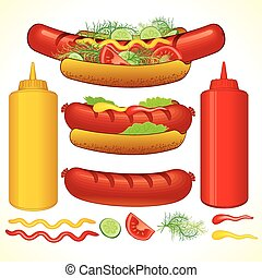 Set of Fast Food Isolated Elements