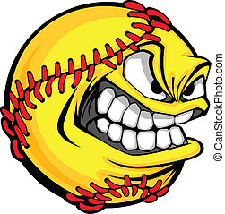 Vector Cartoon Fastpitch Softball with Mean Face