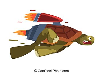 Fast Turtle, Funny Animal Cartoon Character with Turbo Speed Booster Vector Illustration on White Background
