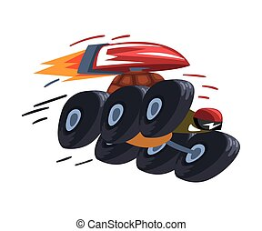 Fast Turtle on Wheels, Tortoise Animal Cartoon Character with Jetpack Vector Illustration on White Background.