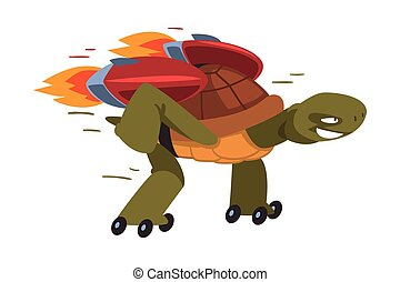 Fast Turtle Rollerblading, Funny Animal Cartoon Character Running with Turbo Speed Booster Vector Illustration on White Background