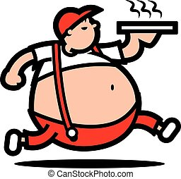 Fat boy with big tummy delivery hot pizza - vector character