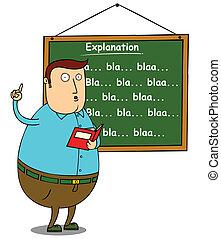 fat teacher explaining subject